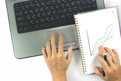 Hands of business women are working. Stock Photo