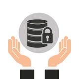 Hands businessman data security padlock. Vector illustration eps 10 Royalty Free Stock Image