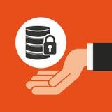 Hands businessman data security padlock. Vector illustration eps 10 Stock Photos
