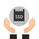 Hands businessman data ssd card Royalty Free Stock Photo