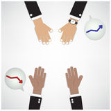 Hands of businessman with graph increase on background. Teamwork concept,business sign. vector illustration Stock Photos