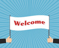Hands of businessman holding welcome sign. Vector Stock Photo