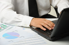 Hands of the businessman and keyboard laptop Stock Images