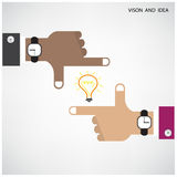 Hands of businessman and light bulb sign with business vision co Stock Photography