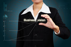 Hands of businessman show vision word. Royalty Free Stock Photography