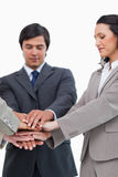 Hands of businesspeople forming a pile Royalty Free Stock Photos