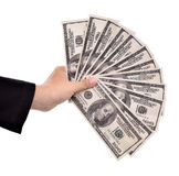Hands of businesswoman carrying a lot of money dollars Royalty Free Stock Image