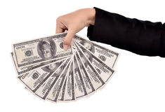 Hands of businesswoman carrying a lot of money dollars Stock Image