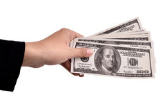 Hands of businesswoman carrying a lot of money dollars Royalty Free Stock Photography