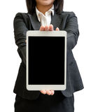 Hands of a businesswoman holding blank tablet device Royalty Free Stock Image