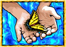 Hands and Butterfly. Royalty Free Stock Images