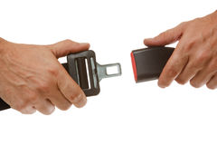 Hands button. Safety belt isolated on a white background stock image