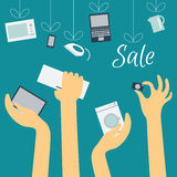 Hands of buyers are drawn to home appliances Royalty Free Stock Photography