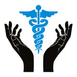 Hands with caduceus vector symbol. Royalty Free Stock Photo