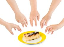 Hands and cake Royalty Free Stock Photo