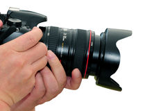 Hands with camera. Hands of the photographer with camera Stock Photography