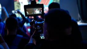 Hands camera concert shooting stock footage