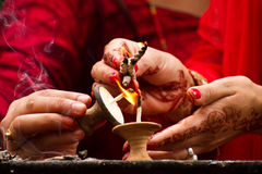 Hands and candle blessings, Teej festival, Durbar Square, Kathma Royalty Free Stock Images