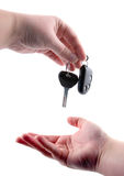 Hands and car key Stock Image
