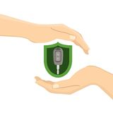 Hands with a car key. In green insurance shield. Flat  illustration Stock Photography