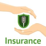 Hands with a car key. In green insurance shield. Flat  illustration Stock Photos