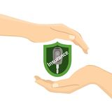 Hands with a car key. In green insurance shield. Flat  illustration Stock Photo