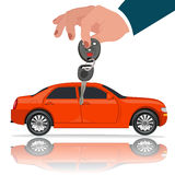 Hands with car key, vector illustration, flat style Stock Image