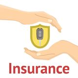 Hands with a car key. In yellow insurance shield. Flat  illustration Stock Images