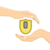 Hands with a car key. In yellow insurance shield. Flat  illustration Royalty Free Stock Images