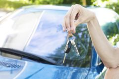 Concept to buy car. Hands with car keys, concept to buy car royalty free stock photography