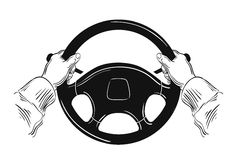 Hands on car steering wheel  on white Stock Photo