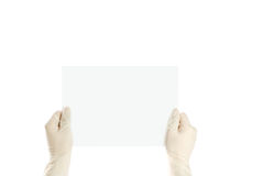 Hands and a card isolated on white Stock Images