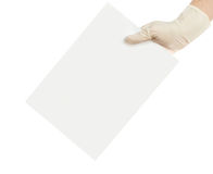 Hands and a card isolated on white Royalty Free Stock Images