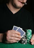 Hands of card-player royalty free stock image