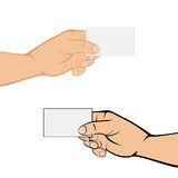 Hands with card on white background Stock Images