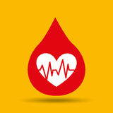 Hands care cardiology heart pulse icon Royalty Free Stock Images