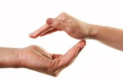 Hands in care gesture Royalty Free Stock Photography