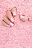 Hands Care. Hand With Pastel Nails In Sea Salt stock photo