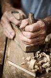 Hands of a carpenter, close up Royalty Free Stock Images
