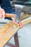 Hands of a carpenter Stock Photography