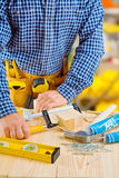 Hands of carpenter do fixes Royalty Free Stock Photo