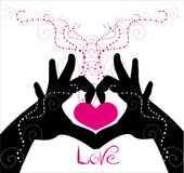 Hands carrying heart on the white background. Vector drawing of hands carrying heart on the white background with abstract pattern Stock Photos