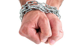 Hands in chain. Isolated on a white background Royalty Free Stock Images