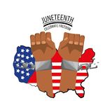 Hands with chain and flag to celebrate freedom. Vector illustration Stock Photography