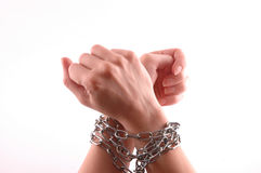 Hands with chain Royalty Free Stock Photos