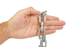 Hands with chain isolated on white background Royalty Free Stock Image