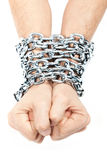 Hands chained in a chain Royalty Free Stock Photography