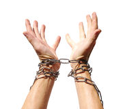 Hands chained together Stock Photos