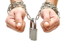 Hands chained together Royalty Free Stock Photos
