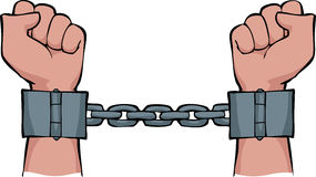 Hands in chains. On a white background vector Royalty Free Stock Photo